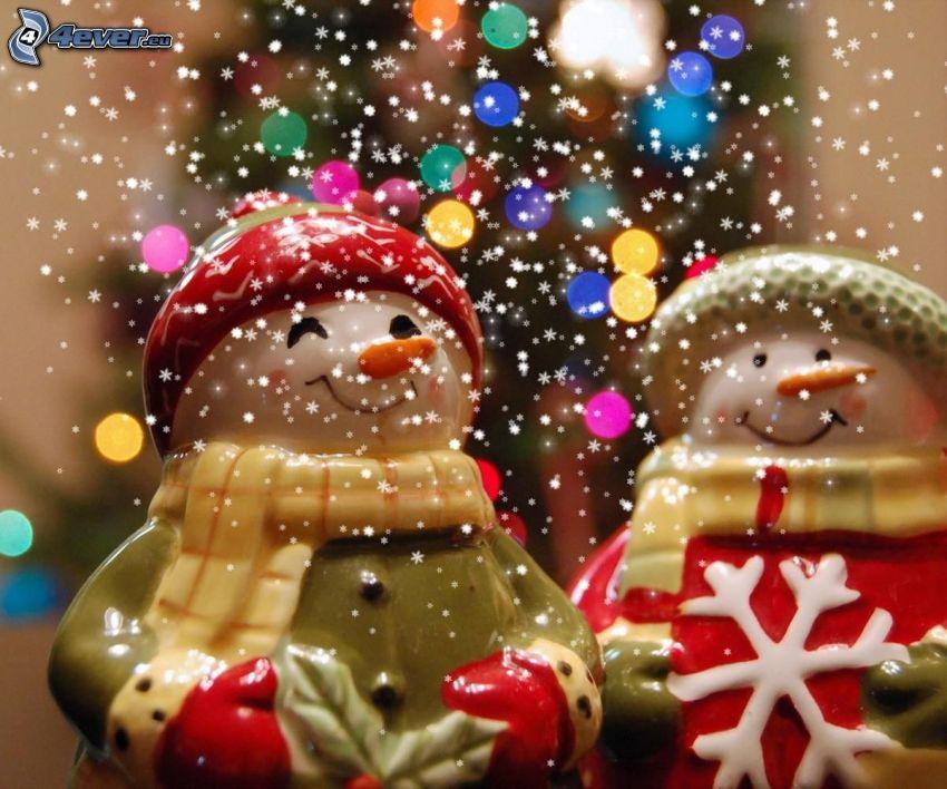 Muñecos de nieve, nieve, árbol de Navidad