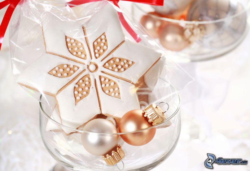 pan de jengibre, bolas de navidad