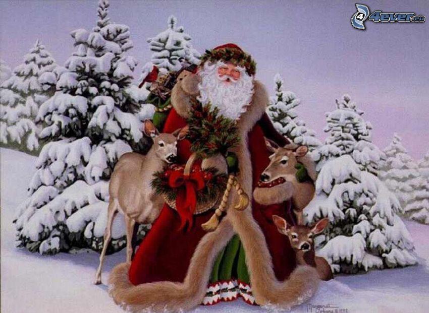 Papá Noel, árboles nevados, corza