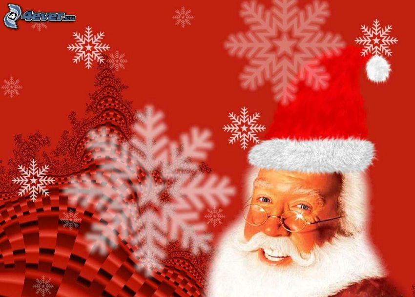 Papá Noel, copos de nieve