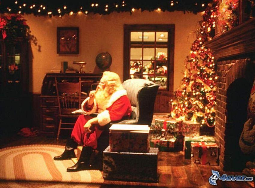 Papá Noel, habitación, regalos