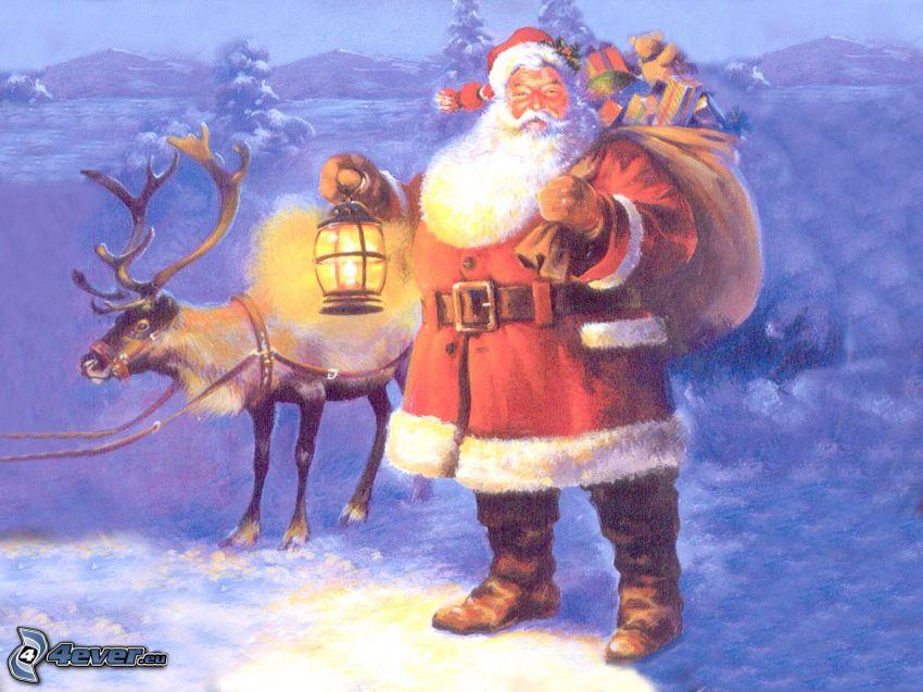 Papá Noel, reno, paisaje, nieve