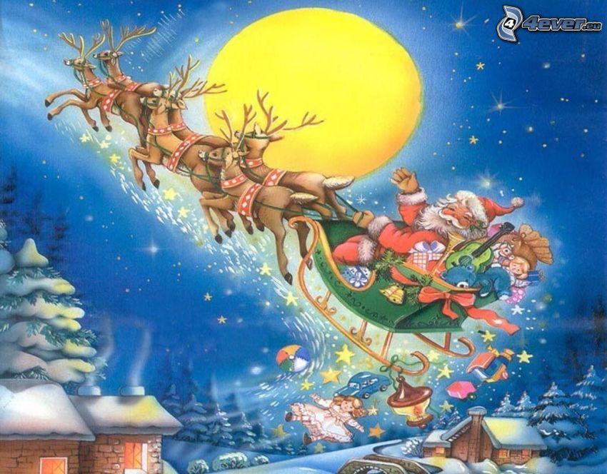 Papá Noel, trineo, renos, paisaje, nieve