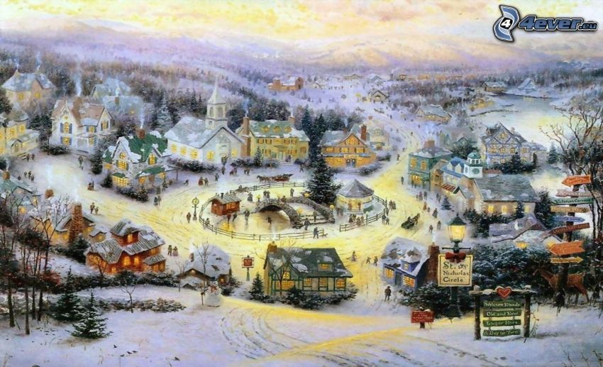 pueblo nevado, plaza, Thomas Kinkade