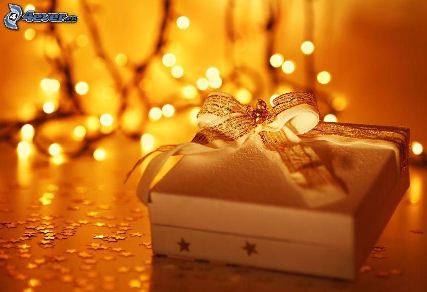 regalo, luces, estrellas