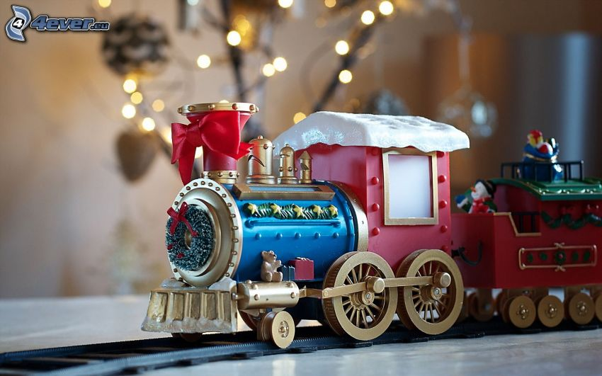 tren, juguete, corona