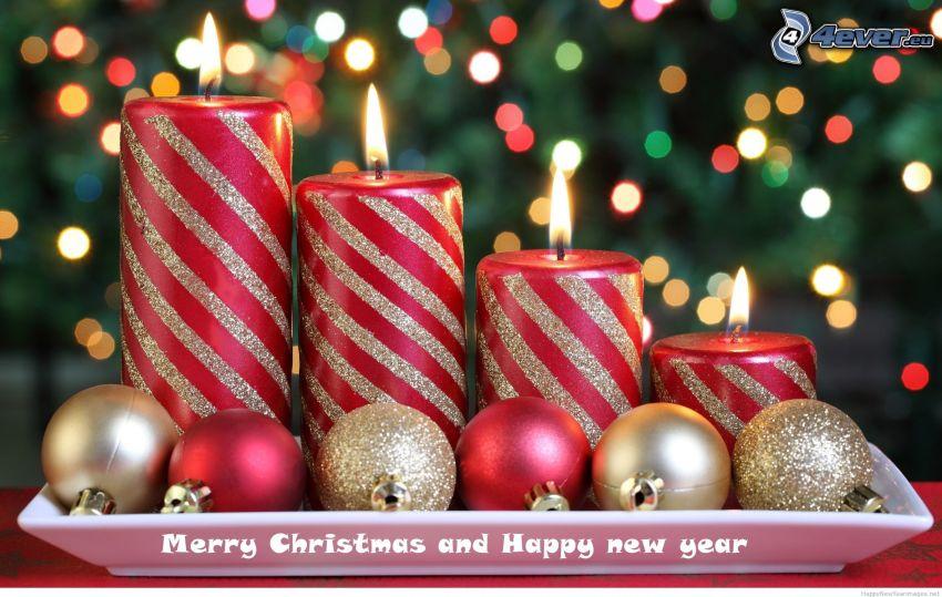 velas, bolas de navidad, Merry Christmas, happy new year