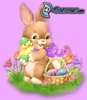 conejito de Pascua, huevos, pollito