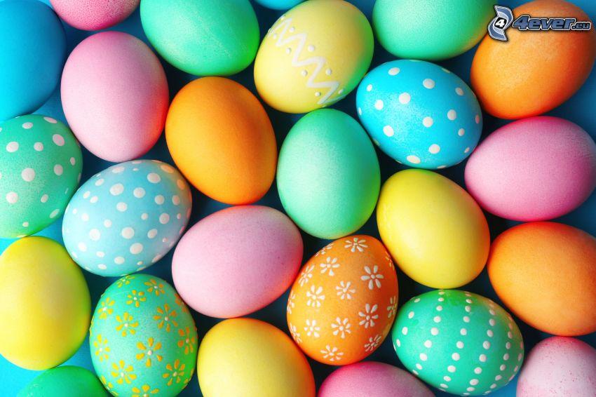 huevos de pascua, colores