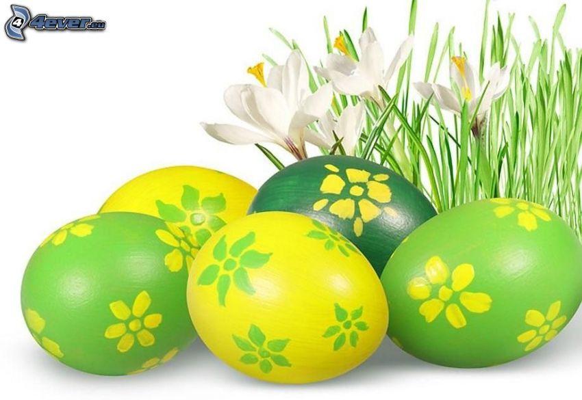 huevos de pascua, flores blancas