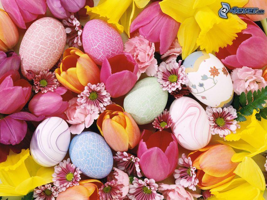 huevos de pascua, narcisos