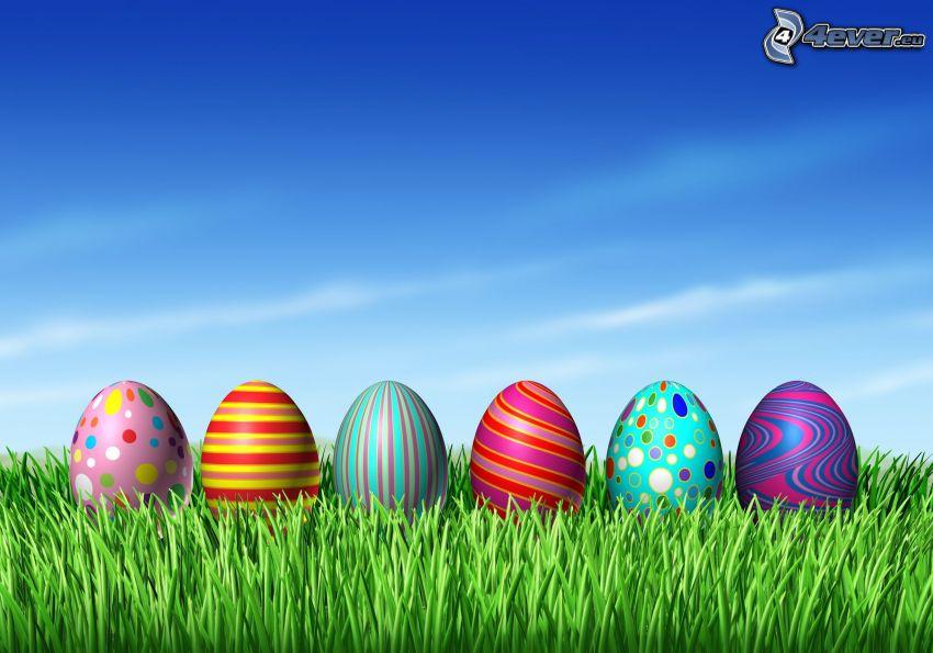 huevos de pascua en hierba, dibujos animados