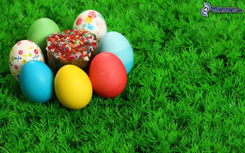 huevos de pascua en hierba