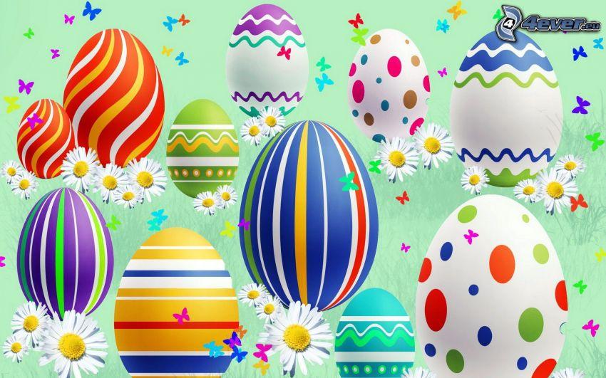 huevos pintados, huevo de Pascua, margaritas