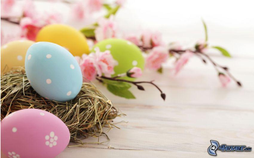 huevos pintados, huevo de Pascua, ramita en flor