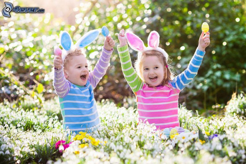 niños, alegría, orejitas, flores de campo