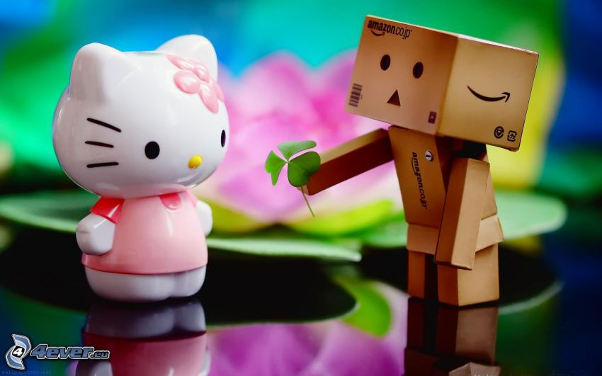 amor, robot de papel, Hello Kitty, trébol