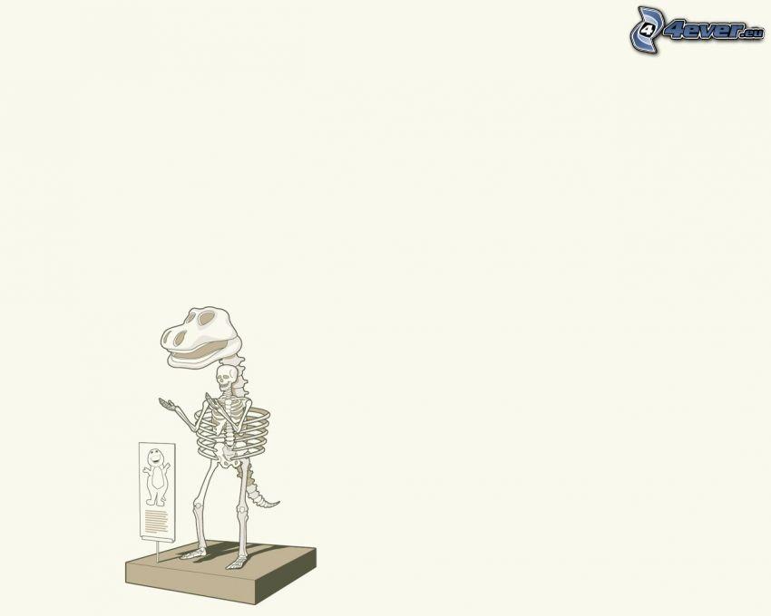 Barney, dinosaurio, esqueleto