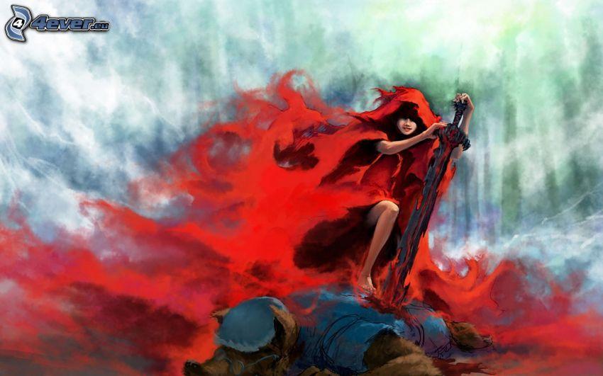 Caperucita Roja, lobo, espada