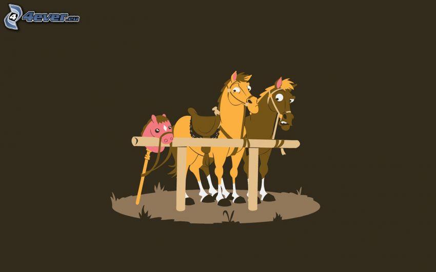 caricatura de caballos