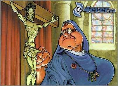 curiosidad, monja, Jesús, cruz, iglesia