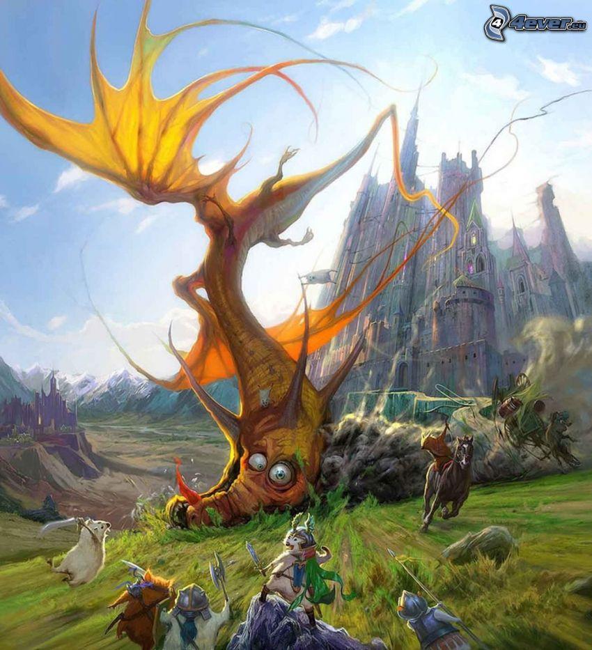 dragón de la historieta, accidente, animales, castillo