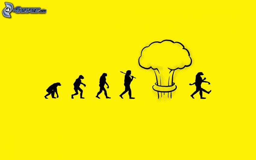 evolución, explosión atómica
