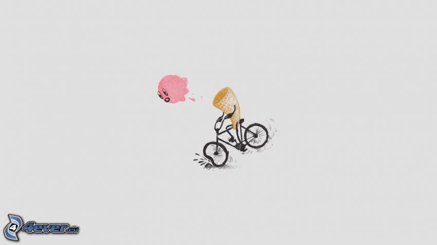 helado, bicicleta, caída