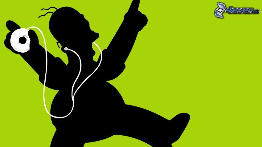 Homer Simpson, silueta, cono, música, iPod