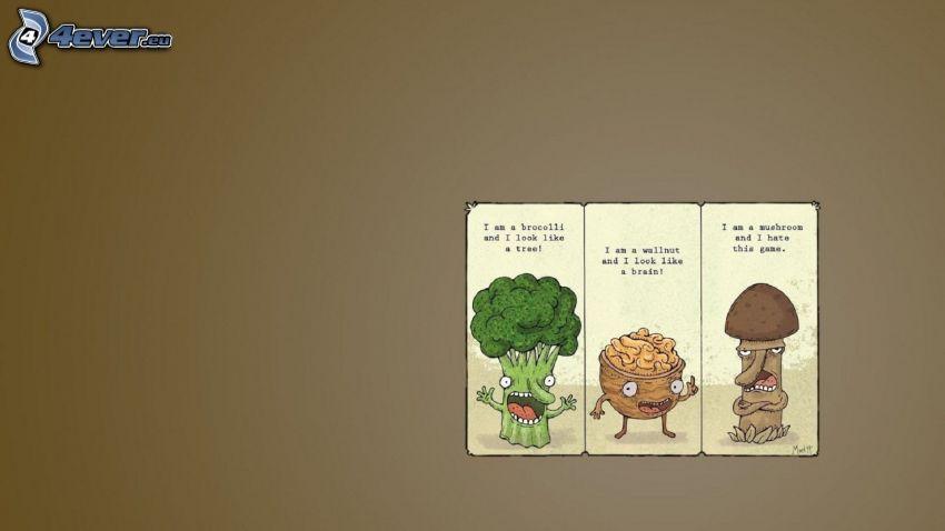 juego, brócoli, nuez, seta