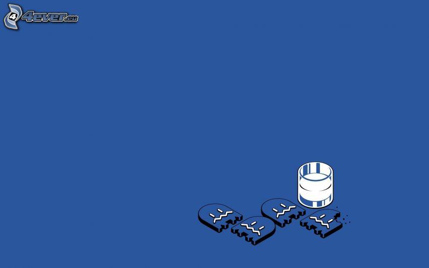 Pacman, galletas, copa, leche