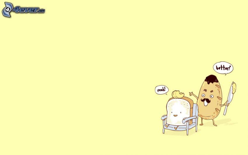 pan, mantequilla, silla, parodia