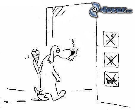 perro, helado, cigarrillo, prohibición