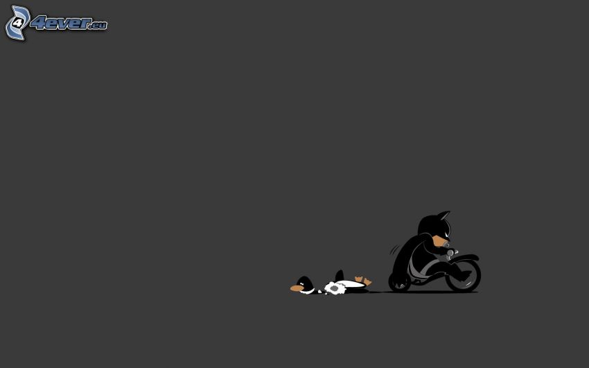 Personaje de dibujos animados, motocicleta