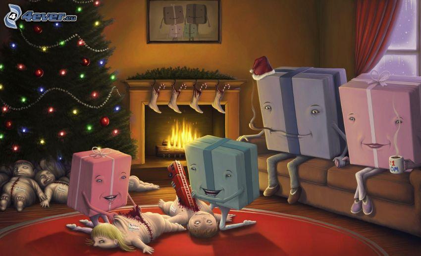 regalos, personas, navidad, parodia