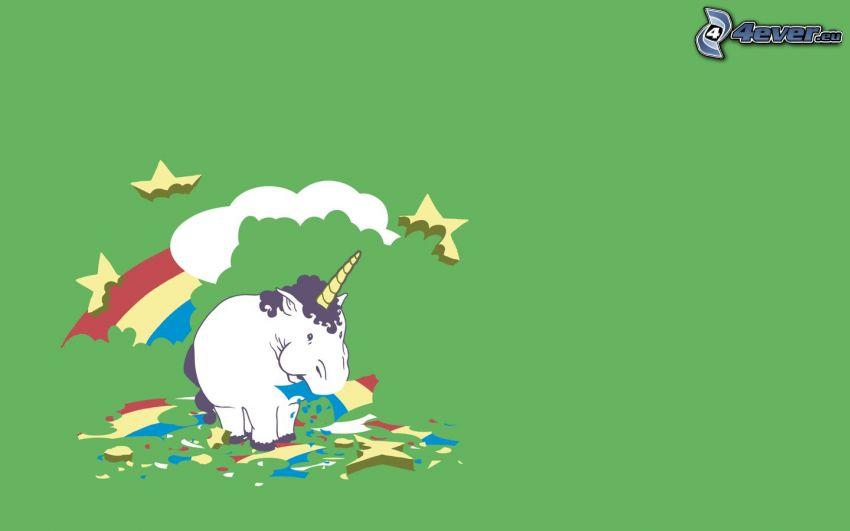unicornio, arco iris, alimento, obesidad