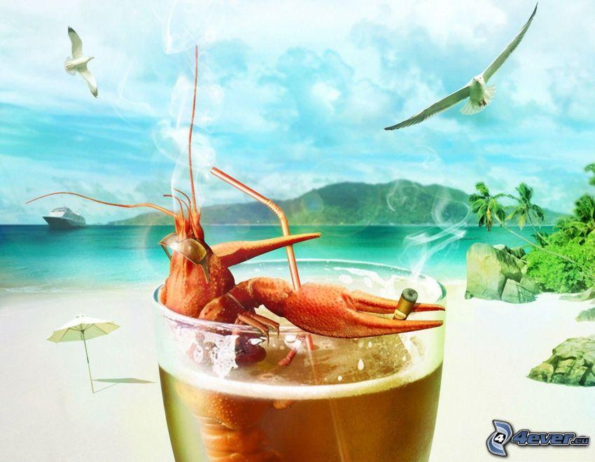 Langosta, cigarrillo, copa, paja, playa, mar, gaviotas, relax