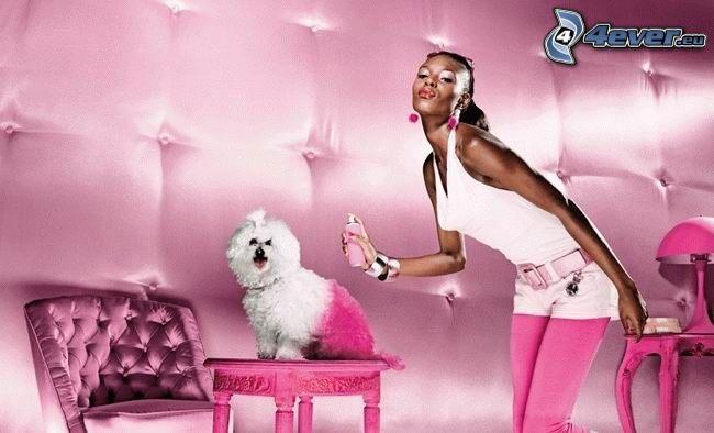 perro, productos cosméticos, perfume, color rosa