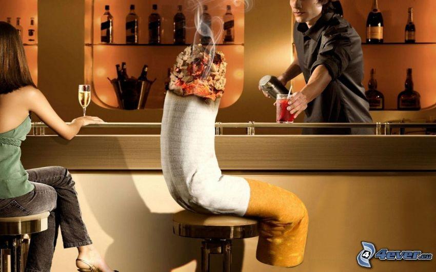 cigarrillo, bar, barman