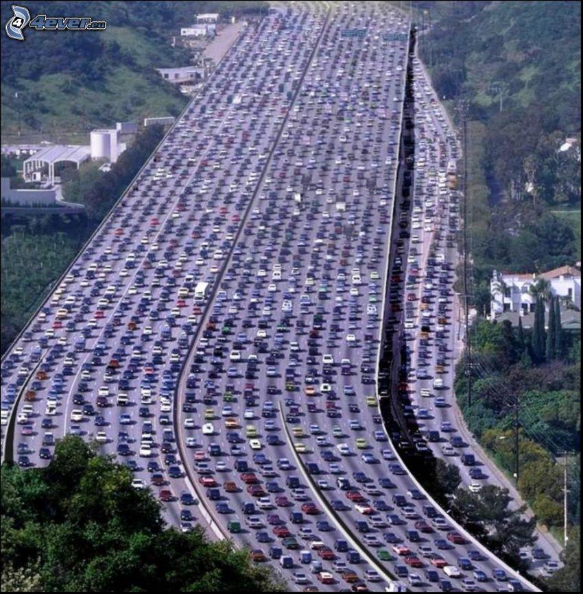 congestión vehicular, carretera, Los Angeles