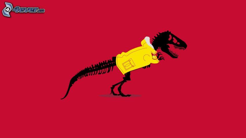 dinosaurio, esqueleto, chaqueta