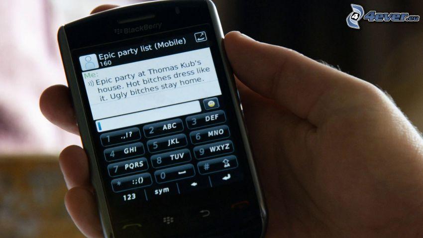 fiesta, teléfono móvil, text, mano