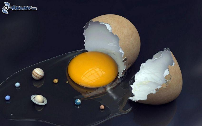 huevo, planetas, concha