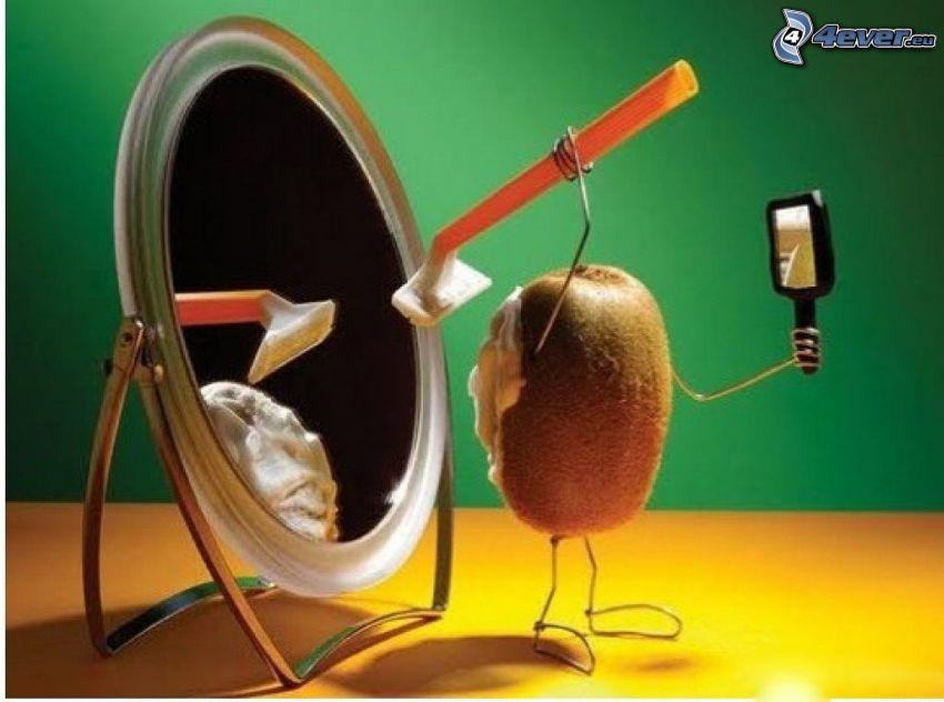 kiwi, maquinilla de afeitar, espejo, espuma, afeitado