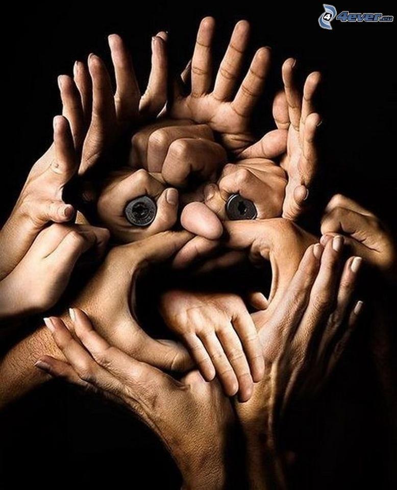 manos, cara, proyectil