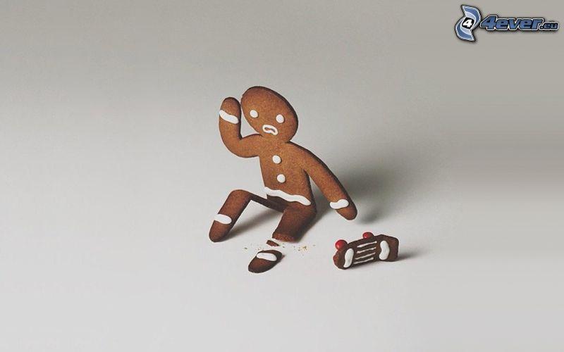 muñeco, pan de jengibre, skateboard, fractura