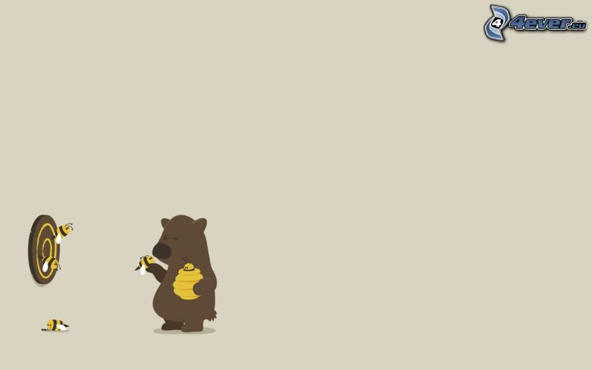 oso, miel, flechas, Abejas, blanco