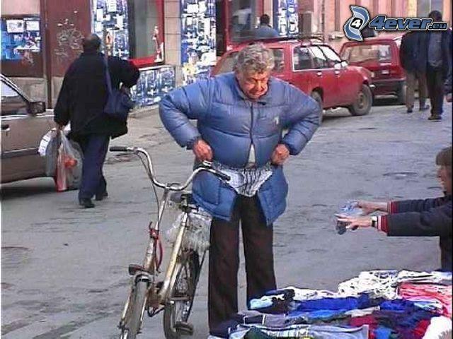 abuelo, calzoncillos, mercado
