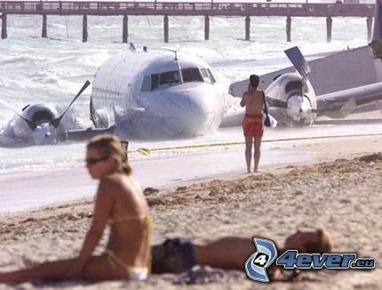 avión, playa, accidente, caída