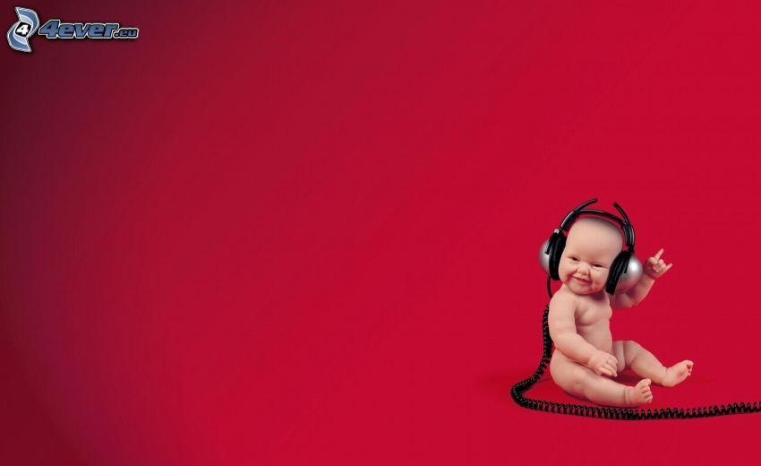 bebé, auriculares, alegría